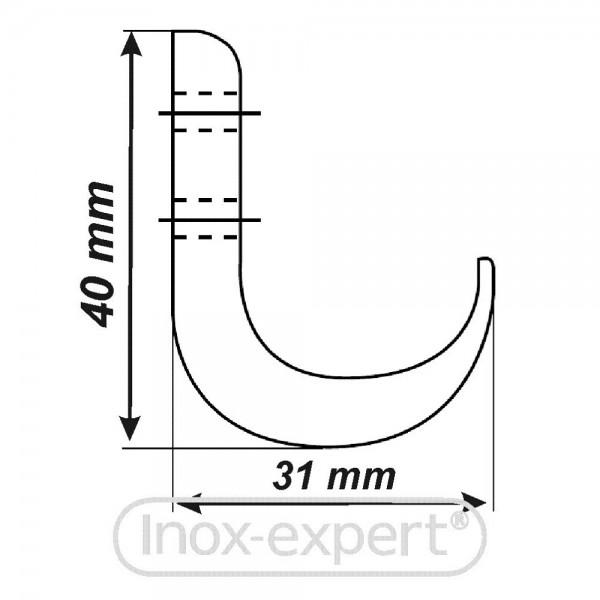 kleiderhaken massiv 31 x 40 mm 2 bohrungen a2 kleiderhaken rostfreie m belbeschl ge inox. Black Bedroom Furniture Sets. Home Design Ideas