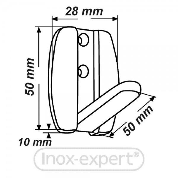 kleiderhaken klappbar 50 x 50 mm 2 bohrungen a4 kleiderhaken rostfreie m belbeschl ge inox. Black Bedroom Furniture Sets. Home Design Ideas