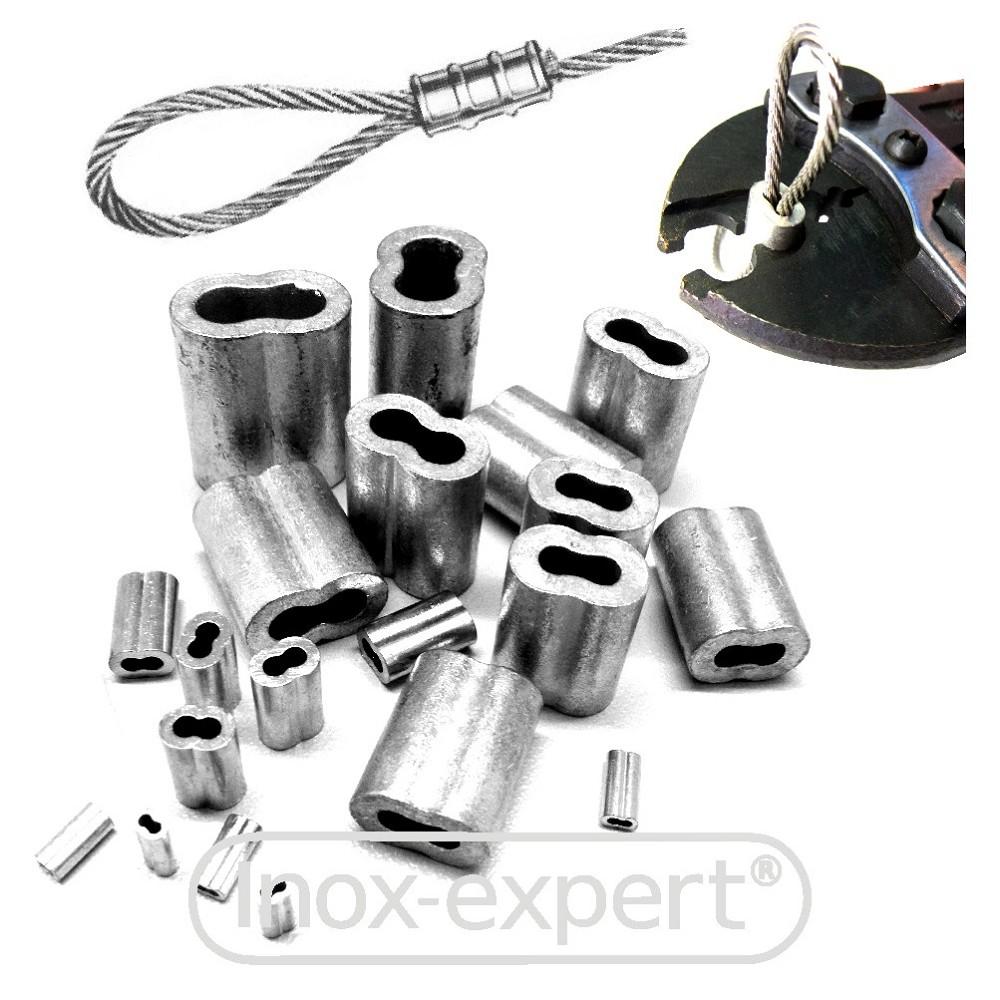 100 ALU Presshülse Pressklemme für 0,8-1,0mm Drahtseil
